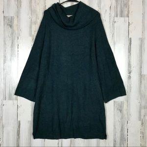 Loft | Over Sized Cowl Dark Teal Sweater Dress